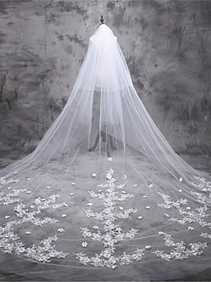 cheap Prom Dresses-One-tier Classic Style / Lace Wedding Veil Cathedral Veils with Solid / Pattern 196.85 in (500cm) POLY / Lace