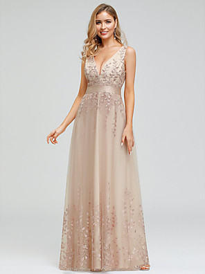 cheap Evening Dresses-A-Line Sexy Prom Dress Plunging Neck Sleeveless Floor Length Chiffon Tulle with Embroidery 2020