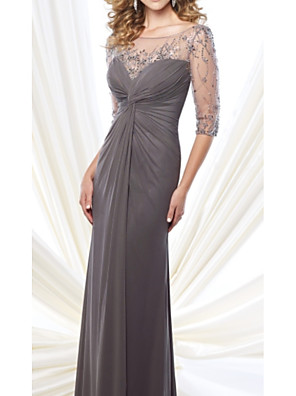 cheap Mother of the Bride Dresses-Sheath / Column Mother of the Bride Dress Elegant & Luxurious Jewel Neck Floor Length Chiffon Tulle 3/4 Length Sleeve with Beading Ruching 2020
