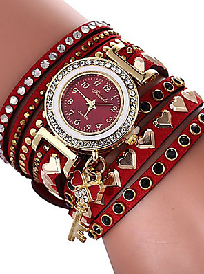 cheap Quartz Watches-Women's Bracelet Watch Quartz Heart Stylish Heart shape Casual Watch Cubic Zirconia PU Leather Red Analog - Red One Year Battery Life / Imitation Diamond