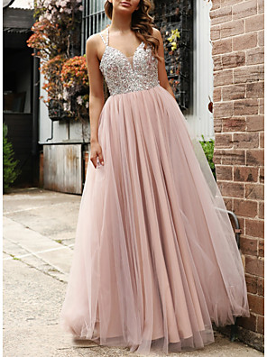 cheap Prom Dresses-A-Line Elegant Pink Prom Formal Evening Dress Spaghetti Strap Sleeveless Floor Length Tulle Sequined with Crystals Beading 2020