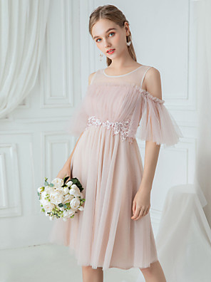 cheap Bridesmaid Dresses-A-Line Jewel Neck Knee Length Polyester / Lace / Tulle Bridesmaid Dress with Draping / Lace / Illusion Sleeve