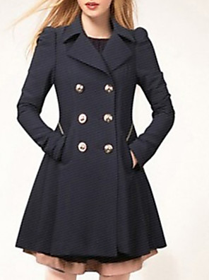 cheap Women's Coats & Trench Coats-Women's Daily Plus Size Long Coat, Solid Colored Notch Lapel Long Sleeve Polyester Black / Navy Blue / Beige