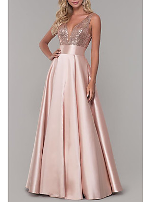 cheap Evening Dresses-A-Line Sparkle Pink Prom Formal Evening Dress V Neck Sleeveless Floor Length Satin with Pleats Sequin 2020