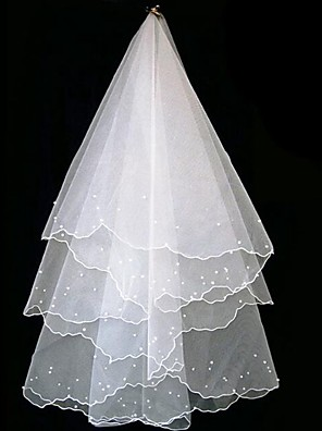 cheap Wedding Veils-One-tier Classic & Timeless Wedding Veil Elbow Veils with Faux Pearl / Trim Tulle