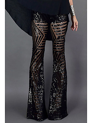 cheap Plus Size Swimwear-Women's Basic Wide Leg Pants Solid Colored Sequins High Waist Black Brown S M L