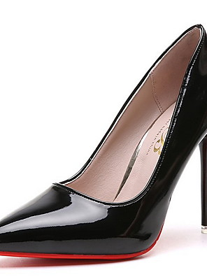 cheap Evening Dresses-Women's Heels Stiletto Heel Pointed Toe PU Winter Black / Almond / Red