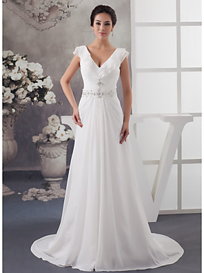 cheap Wedding Dresses-A-Line Wedding Dresses V Neck Court Train Chiffon Satin Spaghetti Strap with Ruched Beading Draping 2020