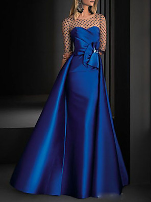 cheap Evening Dresses-A-Line Vintage Blue Engagement Formal Evening Dress Illusion Neck Half Sleeve Floor Length Satin with Crystals Overskirt 2020