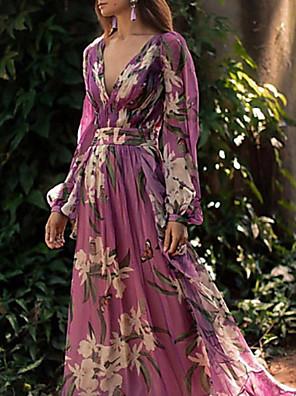 cheap Women's Dresses-Women's 2020 Maxi Purple Dress Elegant Fall Vacation Beach Swing Floral Print Deep V Floral Style S M