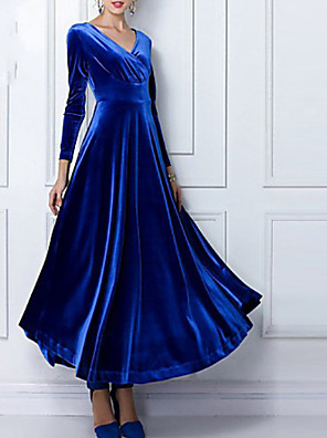 cheap Maxi Dresses-Women's Maxi long Dress Swing Dress - Long Sleeve Solid Colored Pleated Spring Fall V Neck Going out Velvet Wine Black Purple Green Blue S M L XL XXL