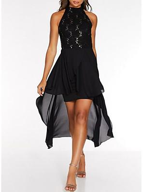 cheap Evening Dresses-Sheath / Column Little Black Dress Holiday Cocktail Party Dress High Neck Sleeveless Asymmetrical Chiffon with Lace Insert 2020