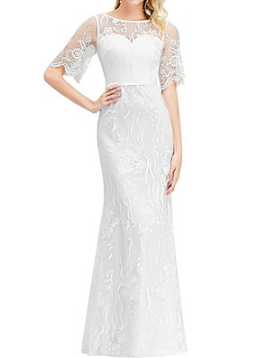 cheap Wedding Dresses-Sheath / Column Wedding Dresses Jewel Neck Floor Length Polyester Short Sleeve Boho Illusion Sleeve with Lace Insert 2020