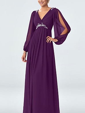 cheap Evening Dresses-A-Line Elegant Formal Evening Dress Plunging Neck Long Sleeve Floor Length Chiffon with Pleats Crystals Crystal Brooch 2020