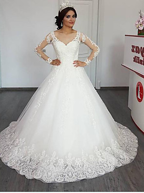cheap Wedding Dresses-Ball Gown A-Line Wedding Dresses Jewel Neck Chapel Train Lace Tulle Long Sleeve Illusion Sleeve with Appliques 2020