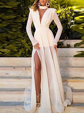 cheap Evening Dresses-A-Line Elegant Engagement Formal Evening Dress High Neck Long Sleeve Sweep / Brush Train Chiffon with Pleats Split Front 2020