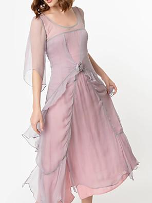 cheap Bridesmaid Dresses-A-Line Scoop Neck Tea Length Chiffon / Tulle Bridesmaid Dress with Tier / Cascading Ruffles