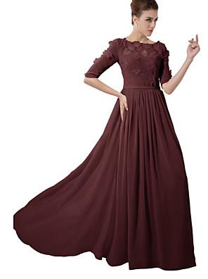 cheap Bridesmaid Dresses-A-Line Jewel Neck Sweep / Brush Train Chiffon Bridesmaid Dress with Appliques / Ruching