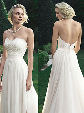 cheap Wedding Dresses-A-Line Wedding Dresses Sweetheart Neckline Court Train Polyester Strapless Beach Backless with Appliques 2020