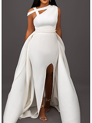 cheap Evening Dresses-A-Line Elegant Formal Evening Dress One Shoulder Sleeveless Sweep / Brush Train Satin with Split Front 2020