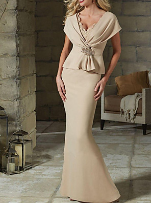 cheap Evening Dresses-Mermaid / Trumpet Elegant Peplum Wedding Guest Formal Evening Dress V Neck Short Sleeve Floor Length Jersey with Crystals Ruffles 2020