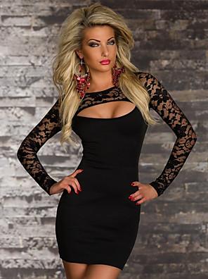 cheap Mini Dresses-Women's Mini Sheath Dress - Long Sleeve Solid Colored Elegant Slim Black M L XL