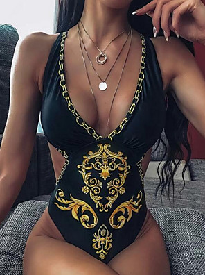 cheap Tankinis-Women's Black Yellow One-piece Swimwear Swimsuit - Geometric S M L Black