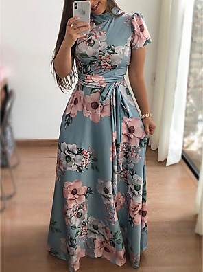 cheap Prom Dresses-Women's Maxi A Line Dress - Short Sleeve Floral Print Print Turtleneck Elegant Holiday Vacation Black Navy Blue Light Blue S M L XL XXL XXXL XXXXL XXXXXL