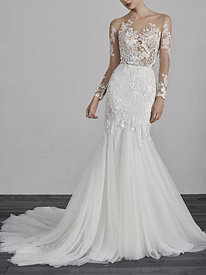 cheap Wedding Dresses-Mermaid / Trumpet Wedding Dresses Jewel Neck Court Train Lace Tulle Long Sleeve Boho Illusion Sleeve with Appliques 2020