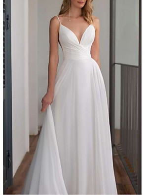 cheap Wedding Dresses-A-Line Wedding Dresses V Neck Floor Length Chiffon Spaghetti Strap with Draping 2020
