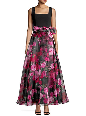 cheap Evening Dresses-A-Line Floral Black Wedding Guest Prom Dress Scoop Neck Sleeveless Ankle Length Organza with Bow(s) Pattern / Print 2020