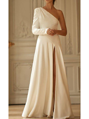 cheap Evening Dresses-A-Line Wedding Dresses One Shoulder Sweep / Brush Train Stretch Satin Long Sleeve Simple Modern with Draping Split Front 2020