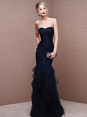 cheap Evening Dresses-Mermaid / Trumpet Sexy Formal Evening Dress Strapless Sleeveless Floor Length Tulle with Ruched 2020