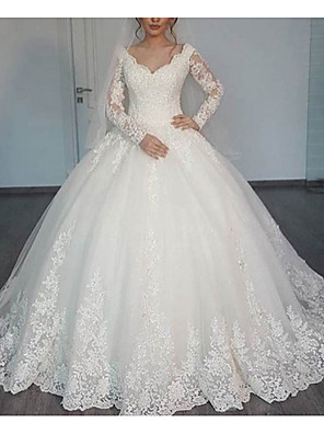 cheap Evening Dresses-A-Line Wedding Dresses V Neck Sweep / Brush Train Lace Long Sleeve Illusion Sleeve with Lace 2020