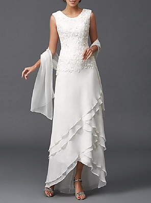 cheap Mother of the Bride Dresses-A-Line Mother of the Bride Dress Wrap Included Jewel Neck Floor Length Chiffon Sleeveless with Lace Tier 2020 Mother of the groom dresses