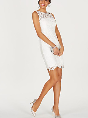 cheap Cocktail Dresses-Sheath / Column Sexy White Holiday Cocktail Party Dress Illusion Neck Sleeveless Short / Mini Lace Satin with Lace Insert 2020