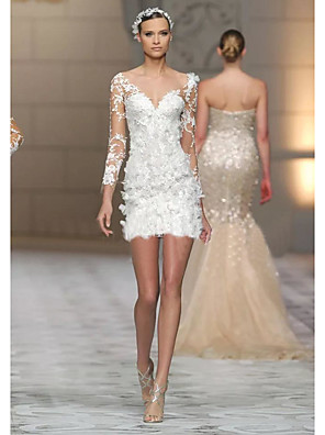 cheap Prom Dresses-Sheath / Column Sexy Holiday Cocktail Party Dress Jewel Neck 3/4 Length Sleeve Short / Mini Lace Tulle with Appliques 2020