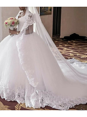 cheap Wedding Dresses-A-Line Wedding Dresses V Neck Court Train Lace Regular Straps with Lace Insert 2020