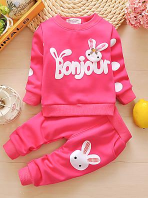 povoljno Kompletići za bebe-Dijete Djevojčice Osnovni Print Print Dugih rukava Duga Dug Komplet odjeće Blushing Pink