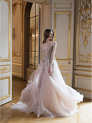 cheap Prom Dresses-A-Line Elegant Prom Dress Jewel Neck Long Sleeve Court Train Tulle with Appliques 2020