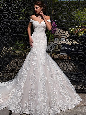 cheap Wedding Dresses-Mermaid / Trumpet Wedding Dresses Off Shoulder Court Train Lace Tulle Short Sleeve Sexy Backless with 2020
