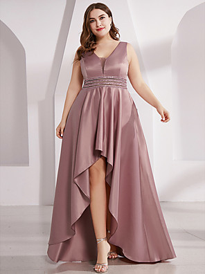 cheap Prom Dresses-A-Line Pastel Colors Prom Dress Plunging Neck Sleeveless Asymmetrical Polyester with Sash / Ribbon Ruffles 2020