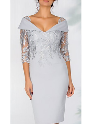 cheap Cocktail Dresses-Sheath / Column Elegant Grey Wedding Guest Cocktail Party Dress V Neck 3/4 Length Sleeve Short / Mini Lace with Appliques 2020