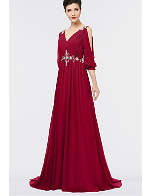 cheap Evening Dresses-A-Line Elegant Formal Evening Dress Plunging Neck Half Sleeve Sweep / Brush Train Chiffon with Pleats Crystals 2020