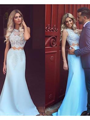cheap Evening Dresses-Mermaid / Trumpet Elegant Two Piece Prom Formal Evening Dress Jewel Neck Sleeveless Sweep / Brush Train Satin with Appliques 2020
