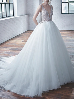 cheap Wedding Dresses-A-Line Wedding Dresses V Neck Court Train Tulle Regular Straps with Beading Embroidery 2020