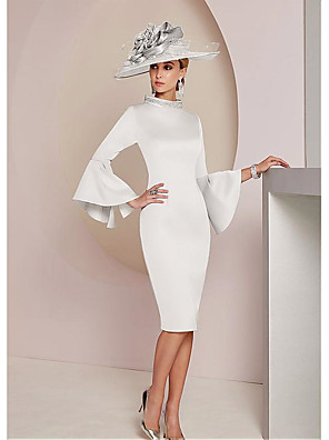 cheap Cocktail Dresses-Sheath / Column Mother of the Bride Dress Wrap Included High Neck Knee Length Jersey 3/4 Length Sleeve with Crystals 2020 / Petal Sleeve
