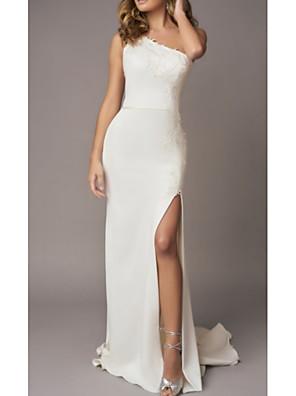 cheap Wedding Dresses-Sheath / Column Wedding Dresses One Shoulder Sweep / Brush Train Lace Charmeuse Regular Straps with Draping Split Front 2020