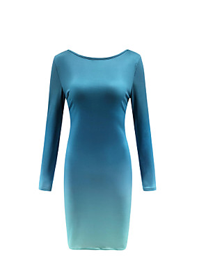 cheap Women's Dresses-Women's Bodycon Dress - Long Sleeve Color Block Slim Black Red Light Blue S M L