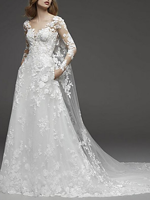 cheap Wedding Dresses-A-Line Wedding Dresses V Neck Watteau Train Lace Tulle Long Sleeve Illusion Sleeve with Appliques 2020